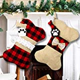 OurWarm 2pcs Pet Dog Christmas Stockings, Burlap Plaid Large Bone Shape Pets Stockings, Classic Hanging Stockings for Christmas Decorations