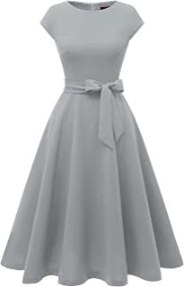 grey tea length bridesmaid dresses