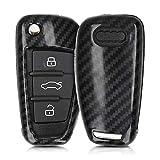 kwmobile Funda Compatible con Audi Llave de Coche Plegable de 3 Botones - Carcasa Dura para Llave de Coche Mando de Auto - Carbono Negro
