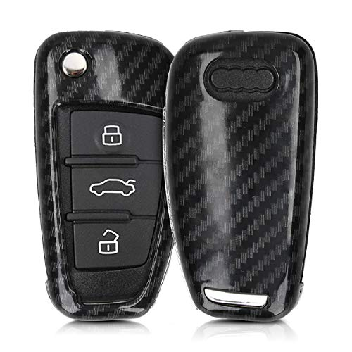 kwmobile Autoschlüssel Hülle kompatibel mit Audi 3-Tasten Klappschlüssel - Hardcover Schutzhülle Schlüsselhülle Cover Carbon Schwarz