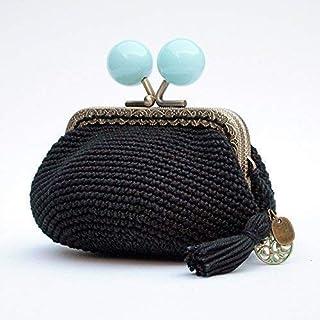 Monedero crochet negro y boquilla de bolas azules