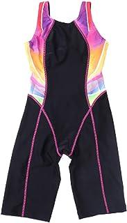 SherryDC Girls' Splice Athletic Competitive Full Knee Length One Piece Swimsuit Swimwear Legsuit (5-14 Years)
