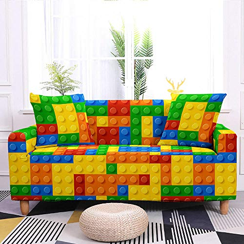 Estiramiento Funda de sofá 2 Plazas 1 Pieza Antideslizante Fundas Impresa para Sofas Sofás Cubre Sofá Ajustable Protector de Muebles 2 Fundas de Almohada Bloques Construcción Amarillo