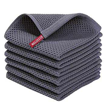 Homaxy 100% Cotton Waffle Weave Kitchen Dish Cloths Ultra Soft Absorbent Quick Drying Dish Towels 12x12 Inches 6-Pack Dark Grey