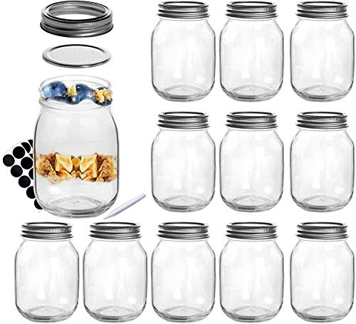 SXUDA 16 oz Mason Jars with Silver Lids and Bands Regular Mouth Canning Jars for Jam, Honey, Jelly, Wedding Favors, Shower Favors, Baby Foods, DIY Magnetic Spice Jars, 12 PACK