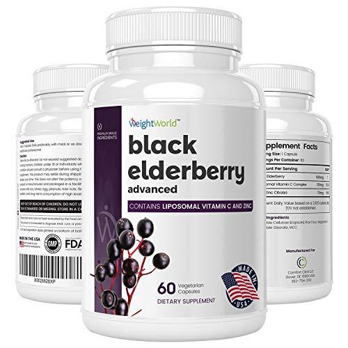 Schwarze Holunder Kapseln - 100% vegan & natürlich - 500mg Elderberry Extrakt mit Liposomal Vitamin C & Zink - 2 Monatsvorrat - Geprüfte Zutaten & Ohne Zusatzstoffe - 60 Kapseln - WeightWorld