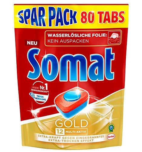 Somat 12 Gold: Sparpack mit 80 Spülmaschinen-Tabs mit höchster Reinigungskraft, 12 Vorteile wie Extra-Wirkung gegen Eingebranntes und Extra-Trocken-Effekt, phosphatfrei