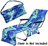 Freesooth Beach Chair Cover, Pool Lounge Chaise Towel Sun Lounger Cover with Side Storage Pockets (Blue)