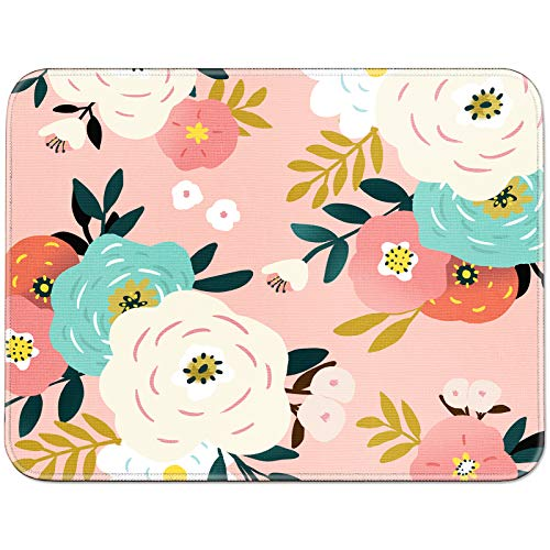 YOOMAS Mouse Pad Floral with Non-Slip Rubber Base, Flower Print Mouse Mat with Stitched Skin-Friendly Edges for Gaming, Working, Studying - Abundant Blossom/White