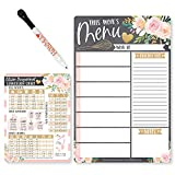 Magnetic Meal Planner for Refrigerator - Floral Magnetic Weekly Menu Board for Kitchen Conversion Chart Magnet, Weekly Meal Planner Dry Erase Board for Refrigerator, Magnetic Menu Board for Fridge