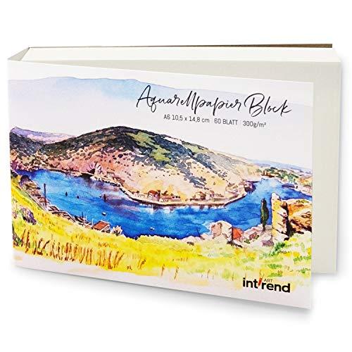 int!rend Aquarellpapier, 300 g, DIN A6, 60 Blatt, Weiß, Papier Block geleimt, Aquarellblock, Watercolour Paper Pad, Malblock für Aquarell, Acryl, Zeichnen, Malen