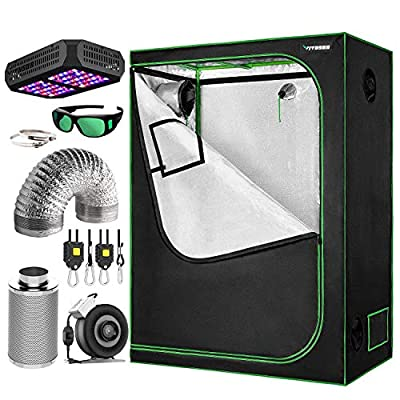 """VIVOSUN 48""""x24""""x60"""" Grow Tent Bundle, Indoor Tent Complete Kit with Air Filtration Kit, Ducting Combo, 300W Led Grow Light, Glasses, and Rope Hanger"""