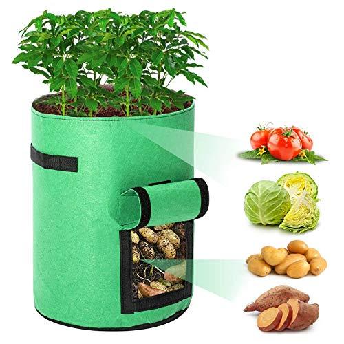 Zjcpow Pflanzen-Wachstumstaschen, 2 Stück, Pflanztopf, Obst, Blumen, Gemüse, Tomaten, Kartoffeln, wiederverwendbare Tasche für Obst, Gemüse, Blumen, Garten, Töpfe