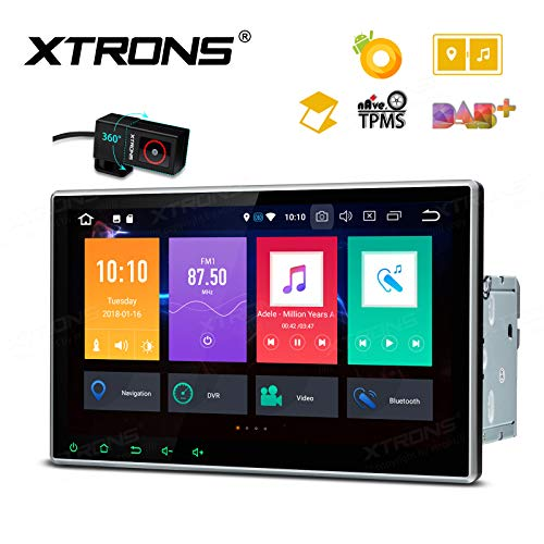 XTRONS 10.1 Inch Android Android Auto Car Stereo Radio DVD Player Octa Core 4G RAM 32G ROM HD Digital Multi-Touch Screen GPS Navigation Adjustable Viewing Angles OBD2 TPMS WiFi with DVR
