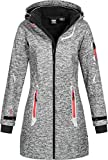 Geographical Norway Damen Softshell Kurzmantel Timael Kapuze meliert Dark Grey XXL