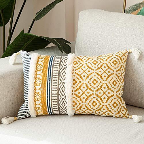 Dremisland Marokko getuftete Boho Kissenbezüge - Rechteck Baumwolle Dekokissen Kissenbezüge Quaste Kissenbezug Weich Kissenhülle für Sofa Couch Auto Schlafzimmer Wohnzimmer (Gelb, 30x50cm)