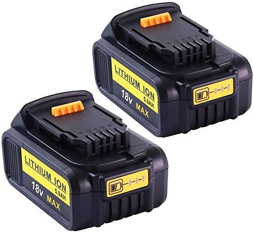 2X Moticett Reemplazo de 20V 5000mAh para Dewalt Batería 18V 20V DCB184 DCB184B-XJ DCB183 DCB183-XJ DCB182-XJ DCB181 DCB181-XJ DCB185-XE Power Tool Batería con indicador luminoso LED