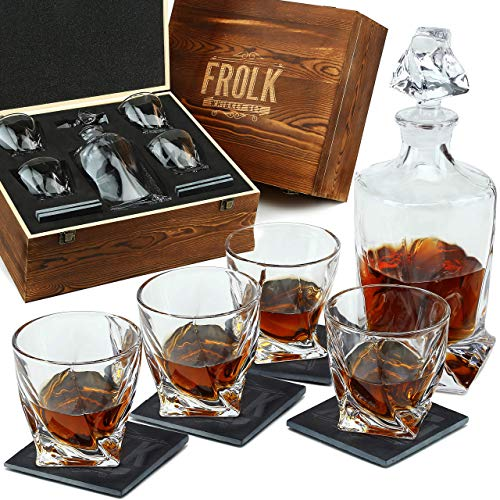 Twisted Whiskey Decanter Set with Glasses - Premium Glass Decanter for Whisky, Bourbon, Scotch - 4 Extra Large Whiskey Glasses and 4 slate Coasters in Pinewood Box - Premium Whiskey Gift Set for Men