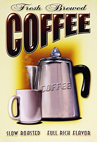FS koffie Fresh Brewed Coffee Slow metalen bord bord gebogen metalen teken 20 x 30 cm