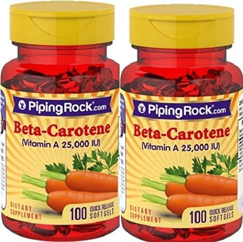 2 Beta-Caroteno (vitamina A), 25,000 IU, 100 Perlas,DEFENSAS Y ANTIOXIDANTE, BETA CAROTENE