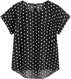 Fyuanmeiinsdxnv Womens tops summer Womens Summer Wave Point Print Casual Tops Short Sleeve Blouse Regular Summer Lady Shir...
