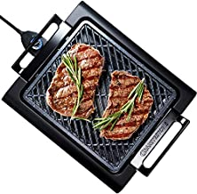 GRANITESTONE 2584 Indoor Electric Smoke-Less Grill with Cool-touch handles and adjustable Temperature Dial, Nonstick, PFOA-Free, Black 16 x 14