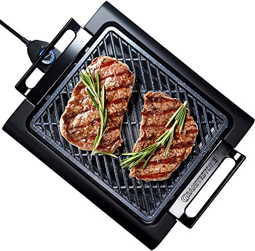 "GRANITESTONE 2584 Indoor Electric Smoke-Less Grill with Cool-touch handles and adjustable Temperature Dial, Nonstick, PFOA-Free, Black 16 x 14"" As Seen On TV"
