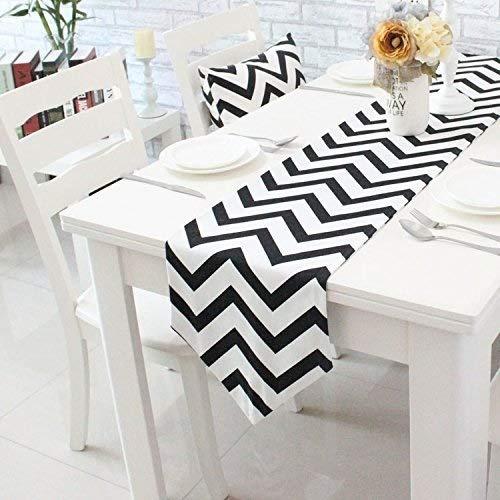 Nvfshreu Chevron Zig Zag gemengd weefsel katoen linnen canvas wit gedrukt tafelloper eenvoudige stijl (geel zwart oranje navy blauw aqua grijs) Aqua 30X210Cm