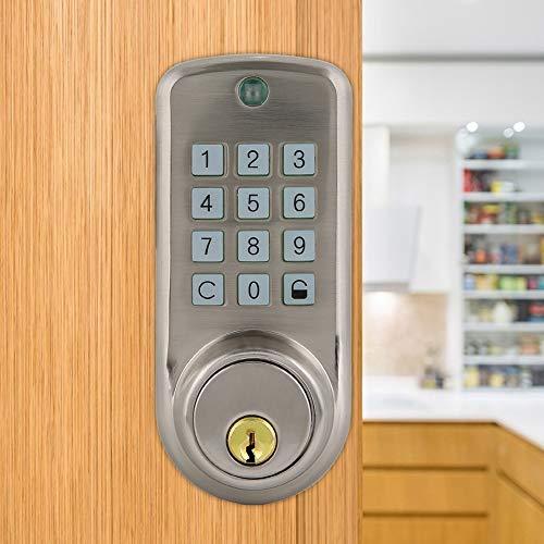 Rosvola Smart Door Lock, Serratura Elettronica Password in Lega di Zinco Antifurto Serratura di Sicurezza Domestica con 2 Chiavi meccaniche per la casa dell'ufficio