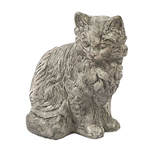 Solid Rock Stoneworks Sitting Furry Cat Stone Animal Statue 11in Tall Pre Aged Color