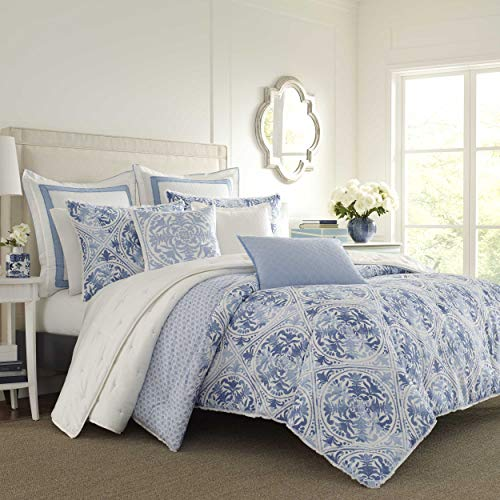 Laura Ashley | Mila Collection | Comforter Set-Ultra Soft All Season Bedding, Reversible Stylish Bedspread With Matching Sham(s), King, Blue