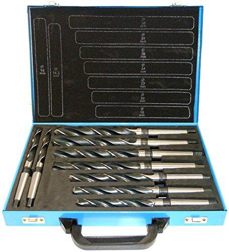 PeTools, Spiralbohrer 9 tlg. HSS Konus-Bohrer, Stahlbohrer 14,5-30mm, Morsekegel MK MK2, MK3 DIN345