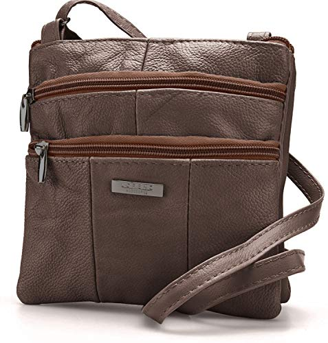 Lorenz Ladies Small Genuine Soft Leather Cross Body / Shoulder Bag (1) # 1941 - Chocolate