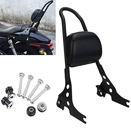 Adjustable Detachable Rear Passenger Backrest Sissy Bar Seat Pad For Harley Sportster XL 883 1200 2004-up (Black)