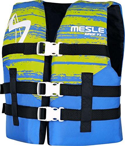 MESLE P3 Junior Zwemhulp, 50-N, vest voor kinderen tot 40 kg, blauw-lime, nylon waterski wakeboard