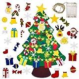 Gudotra Kit Fieltro Árbol de Navidad + 25 Adornos del Árbol de Navidad + Cadena de Luces LED para Regalos Niños Decoración de Navidad Año