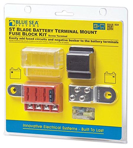 Blue Sea Systems Kit de 4 circuitos de montaje de terminal de batería con cuchilla ST de bloque de fusibles, 5024