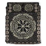 Knowikonwn Juego de ropa de cama Viking Vegvisir, 4 piezas, funda de edredón y funda de almohada, suave y fácil cuidado, 228 x 228 cm, color blanco