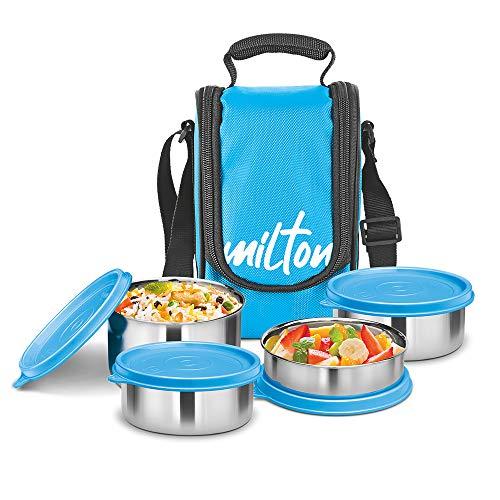 Milton Tasty 4 Stainless Steel Lunch Box, Cyan