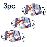 Wenini 3pcs Comfortable Santa Claus Printed Reusable_Face_Mask,Colorful Funny Decorated Backdrop with Stars...