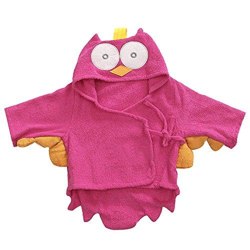 Lexikind Kapuzenhandtuch Baby: Frottee Bademantel - Babyhandtuch mit Kapuze - Kapuzenbadetuch (Eule pink)