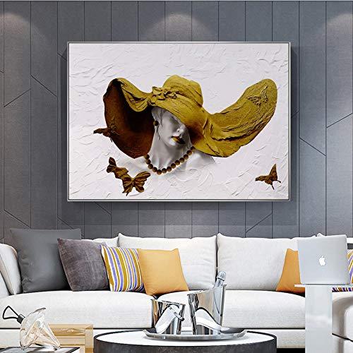xdai Lienzo Pintura Abstracta Mujer Sombrero Gorra póster imágenes artísticas de Pared para Sala de Estar sofá decoración del hogar Estatua Carteles e impresiones-30x40cm sin Marco
