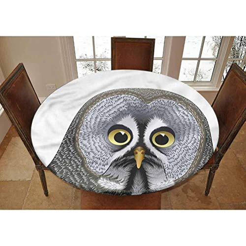 LCGGDB Animal Elastic Edged Polyester Fitted Tablecolth -Owl Head Cute Bird Wisdom- Small Round Fitted Table Cover - Fits Tables up to 40-44' Diameter,The Ultimate Protection for Your Table