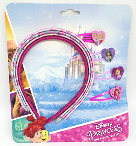 TDL Disney Princess Set - 4 Haarreifen & 4 Haarklips - Offiziell Lizensiert - 4 Head Band and Clip Set