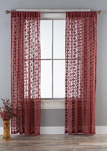 North End Decor Lace Panels Set of 2 (Each 54x84), Garnet Diamond Curtains, Red