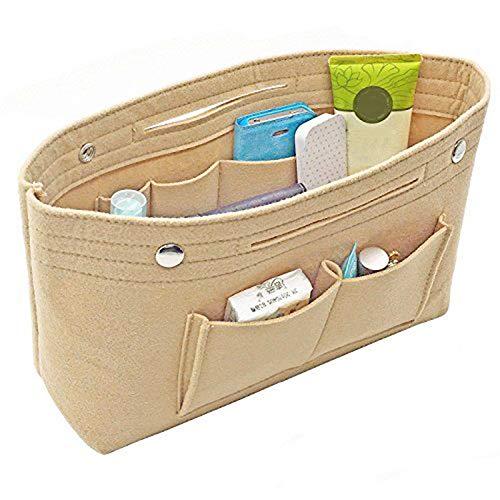 XKMY Bolsas de ahorro de espacio para mujer, organizador de bolsas de fieltro para viajes, casual, bolsa de almacenamiento para el hogar (color caqui oscuro)