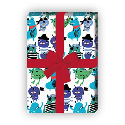 Kartenkaufrausch Cooles Party Animal Geschenkpapier Set mit Piraten Monstern für liebevolle Geschenkverpackung 32 x 48cm, 4 Bögen zum Einpacken für Geburtstage, Kinder, Teenager, weiß