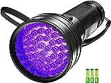 Tanouve Linterna Ultravioleta, Linterna UV 51 LED Luz Negra Linterna led alta potencia Anti-caída, Impermeable IPX4 para Manchas de Cocinas, Caza Escorpión (con plias)