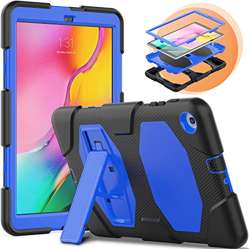 Timecity Samsung Galaxy Tab A 10.1 2019 Case,SM-T510/T515/T517 Case, 3 Layer Hybrid Heavy Duty Shockproof Protective Bumper Covers With Kickstand For Galaxy Tab A 10.1 For Kids (Blue)