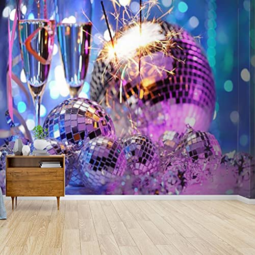 Kanworse Wallpaper Canvas Print Decorative Disco Balls and fire Sparkler Self Adhesive Peel & Stick Wallpaper Wall Mural Wall Decal Wall Sticker Poster Home Craft for Living Room